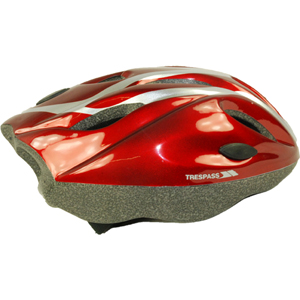 1558 Youth Trespass Tanky Cycle Helmet. Red/Silver