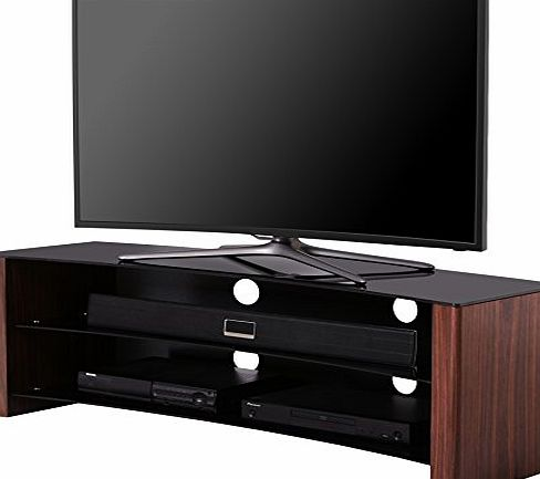 1home Curved TV Stand fits 32 - 55 inch 4K Ultra HD flat or curved LED LCD OLED Plasma TVs Smart 3D TVs, black glass walnut wood effect