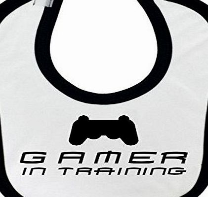 1StopShops Funny Gamer in Training Design Baby Bib with Black Contrast Trim and Black Print