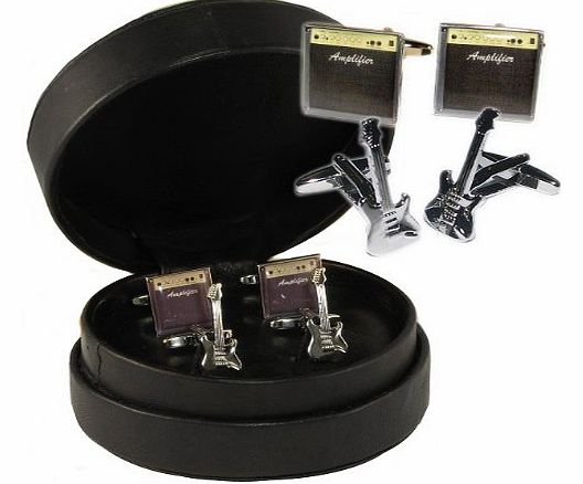 1StopShops Stratocaster Style Guitar and Amp Cufflinks in Leather Presentation Case