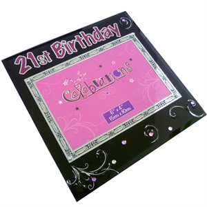 Birthday Black Glass Photo Frame