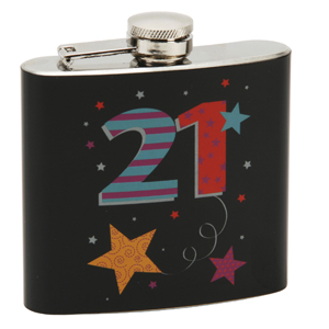Birthday Black Hipflask
