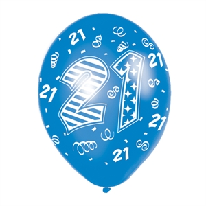 Birthday Latex Balloons - Blue Mix