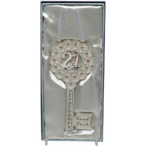 Birthday Silver Plated Good Luck Key