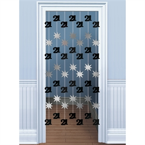 Black/Silver Foil Door Curtain