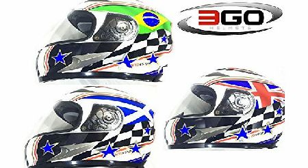 3GO-115 3GO E100 UK BRITISH BRITAIN UNITED KINGDOM ENGLISH CHEAP FULL FACE MOTORCYCLE MOTORBIKE FLAG HELMET (M)