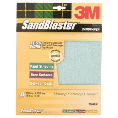 Sandblaster Sandpaper - Assorted Pack Of 3