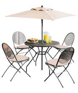 4 Seater Mesh Patio Furniture Set - Black
