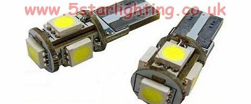 5 Star Lighting Ltd 2 Xenon HID Look 5 SMD LED Side Light Pure White Bulb T10 W5W 501 ERROR FREE FOR INTERIOR amp; EXTERIOR. (NO BLUE TINT)