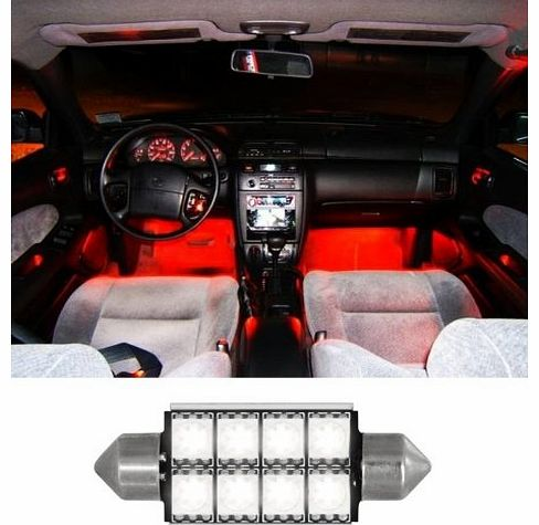 5 Star Lighting Ltd RED 42mm 8 SMD 5050 LED Car Interior Exterior Dome Festoon Bulb Light 12V