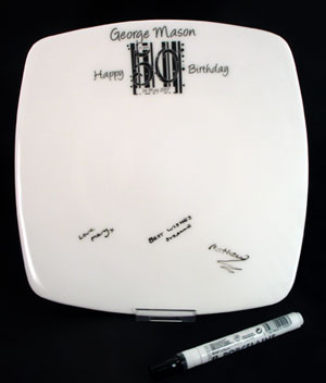 Birthday - Black and White Message Plate