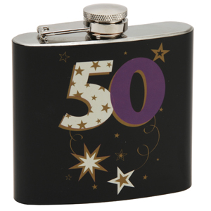 Birthday Black Hip Flask