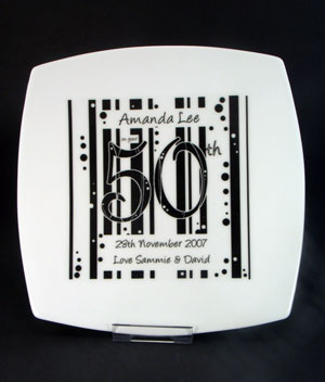 Birthday Plate- Black and White Square