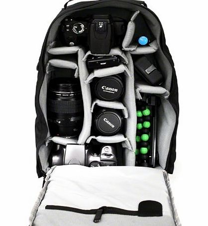 Photographers Backpack / Rucksack - Camera Bag for Digital SLR and DSLR Cameras incl. Canon, Nikon etc. - Black