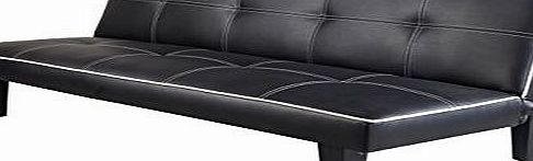 7Star Click Clack faux leather Sofa Bed Black spare room or guest room bed Settee Sale