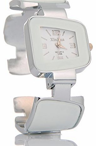 Stretch Cuff Quartz Women Bangle Bracelet Wrist Watch Student Children Trapezoid White For Ladies
