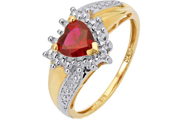 Created Ruby and Diamond Heart Ring -