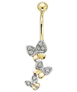Cubic Zirconia Butterfly Body Bar