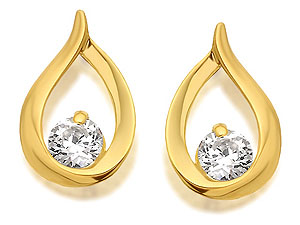 Cubic Zirconia Teardrop Earrings 10mm