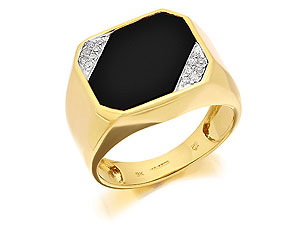 Diamond And Onyx Signet Ring - 183702