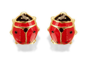Enamel Ladybird Stud Earrings - 070748