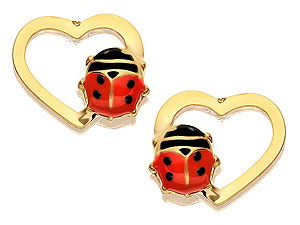 Heart And Ladybird Earrings 8mm - 070747