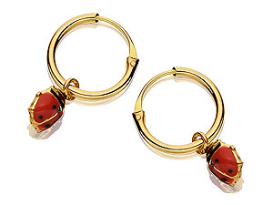 Moving Ladybird Hoop Earrings 10mm -