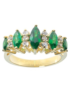 Plated 15-Stone Emerald and Cubic