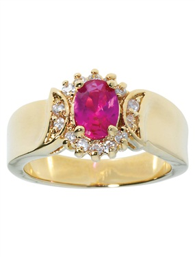 Plated 15-Stone Ruby and Cubic Zirconia