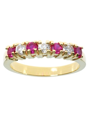 Plated 7-Stone Ruby and Cubic Zirconia
