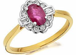 Ruby And Diamond Cluster Ring 15pts -