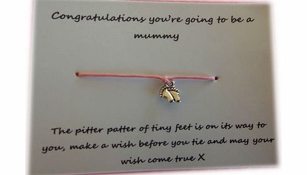 A Bit Krafty New Mum to be Gift, Friendship / Wish Bracelet, baby feet, baby shower favour - Red