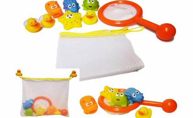 A to Z Bath Time Play Set Storage Net Tidy Bag Fishing Game Squrter Rubber Duck Toy