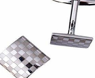 AAA A Mens Silver Square Checkerboard Cufflinks
