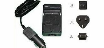 Mains Battery Charger for Sony Alpha DSLR-A330 Digital SLR camera - 2 Hours quick charging - UK, USA, EU plugs and car charger Included - AAA Products - 12 Month Warranty