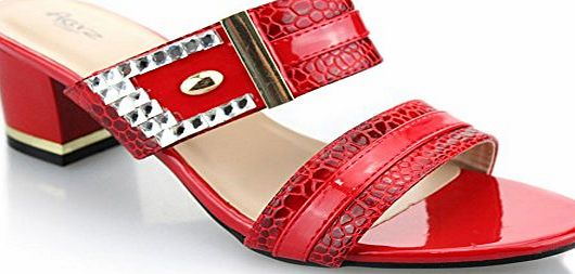 AARZ LONDON Aarz Women Ladies Evening Party Wedding Casual Slip-on Block Heel Sandal Shoes Size ( Black,Red,White )