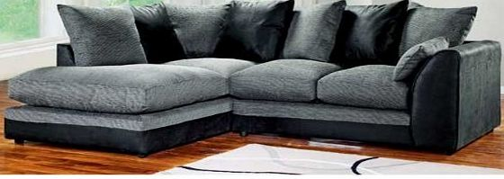 Abakus Direct Dylan Byron Corner Group Sofa Black and Charcoal Right or Left (Black Left)