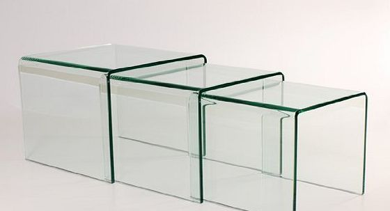 Abode Interiors MILAN BENT GLASS NEST OF 3 CLEAR SIDE TABLES BY ABODE INTERIORS