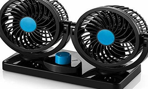 AboveTEK 12V Electric Car Fan - Rotatable 2 Speed Dual Blade 12 Volt DC Fan with 9FT Cord amp; 3M Stickers - Quiet Strong Dashboard Circulator Cooling Air Fan for Sedan SUV RV Boat Auto Vehicles - E