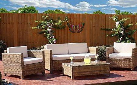 Abreo New 4 piece Grey, Light Brown Roma Rattan Garden Furniture Sofa set with Coffee Table and Chairs INCLUDES OUTDOOR PROTECTIVE COVER (Light Mixed Brown with Light Cushions)