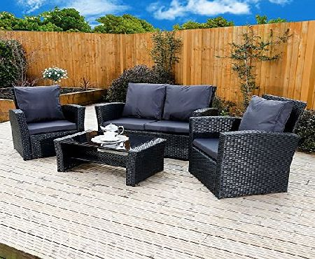 Abreo New Algarve Rattan Wicker Weave Garden Furniture Patio Conservatory Sofa Set, INCLUDES OUTDOOR PROTECTIVE COVER (Black/Dark Cushions)