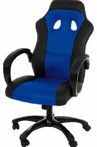 Imola 37957 Office Chair Faux Leather Cover Padded Arm Rests Approx 61 x 120 x 67 cm Black/ Mesh Blue