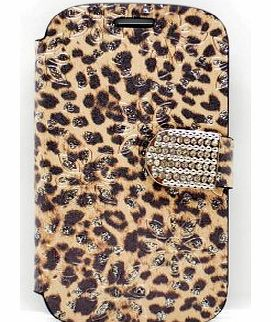 Samsung Galaxy S3 i9300 Leopard Print Diamante Diamond Jewellery Incased PU Leather Purse Wallet Case With Credit Bank Charge Card Slots Accessories Smartphone Mobile Phone Cover