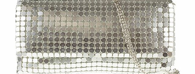 Accessorize-me. Accessorize-me Stunning Gold Silver Or Black Mesh Chainmail Metal Clutch Bag Handbag 0318 (Silver)
