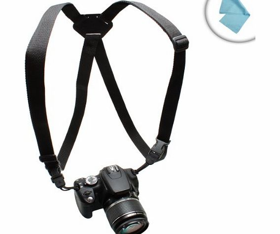 Adjustable DSLR Camera Harness Chest Strap System w/ Universal Design for Nikon , Canon , Sony , Pentax , Olympus Panasonic , Fujifilm , Samsung amp; More Digital SLR Cameras *Includes Bonus Cleaning
