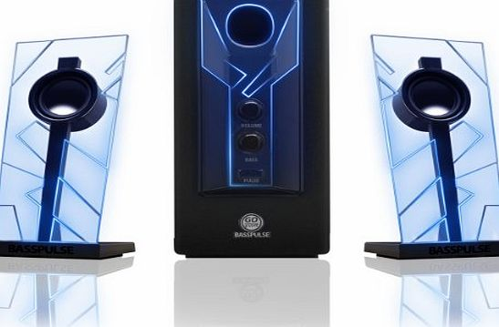 Accessory Power GOgroove BassPULSE 2.1 Satellite Stereo Gaming Speakers and Surround Sound System w/ Deep Bass , Blue LED Glow Lights and Powered Subwoofer - Works with Dell Optiplex 760 , Lenovo C260 , Apple Mac Min