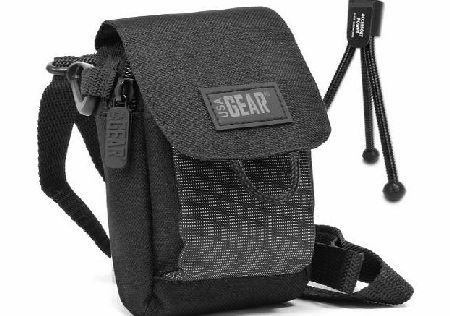 USA Gear Black Compact Digital Camera Case Travel Pouch with Portable Mini Tripod , Shoulder Strap amp; Belt Loop - Will fit Nikon Coolpix L31 , L32 / S3700 , S2900 amp; More Select Canon , Samsung