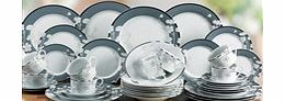 40-Piece Silver Flower Dinner Set