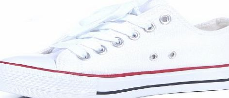 Acquire Fashion Womens low Top Canvas Plimsole Lace Up Rubber Toe Trainers White 5