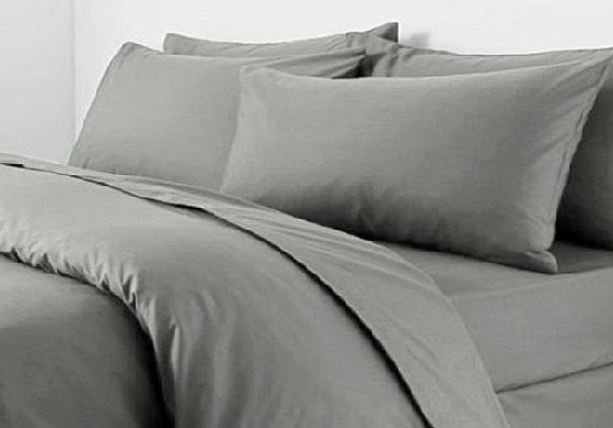 Adam Texile Online Plain Dyed PolyCotton Duvet Cover PillowCase(Grey,Double)